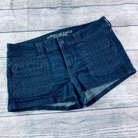 American Eagle sz12 dark wash shorty short stretch